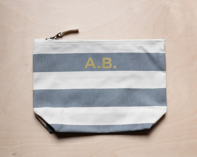 Featured listing image: Stripy cotton zip bag - personalised
