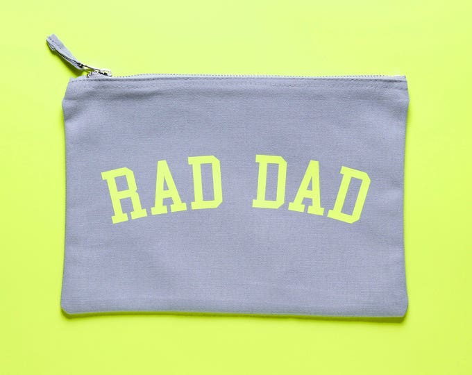 Featured listing image: Grey cotton neon Rad Dad Bag - for the Rad Dad in your life