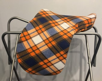 Orange and Navy Plaid Fleece Saddle Cover for Dressage, All Purpose, Jumping Saddles