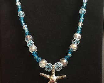 Aqua beaded necklace