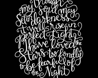 I Have Loved the Stars Too Fondly - Sara Williams quote Digital Print