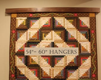 """Quilt wall hanger / 54""""-60"""" The modern knob-less for quilts, rug, or textiles"""