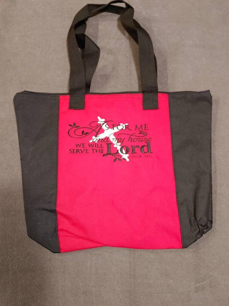 Joshua 24:15 Bible Verse Embroidered Tote Bag