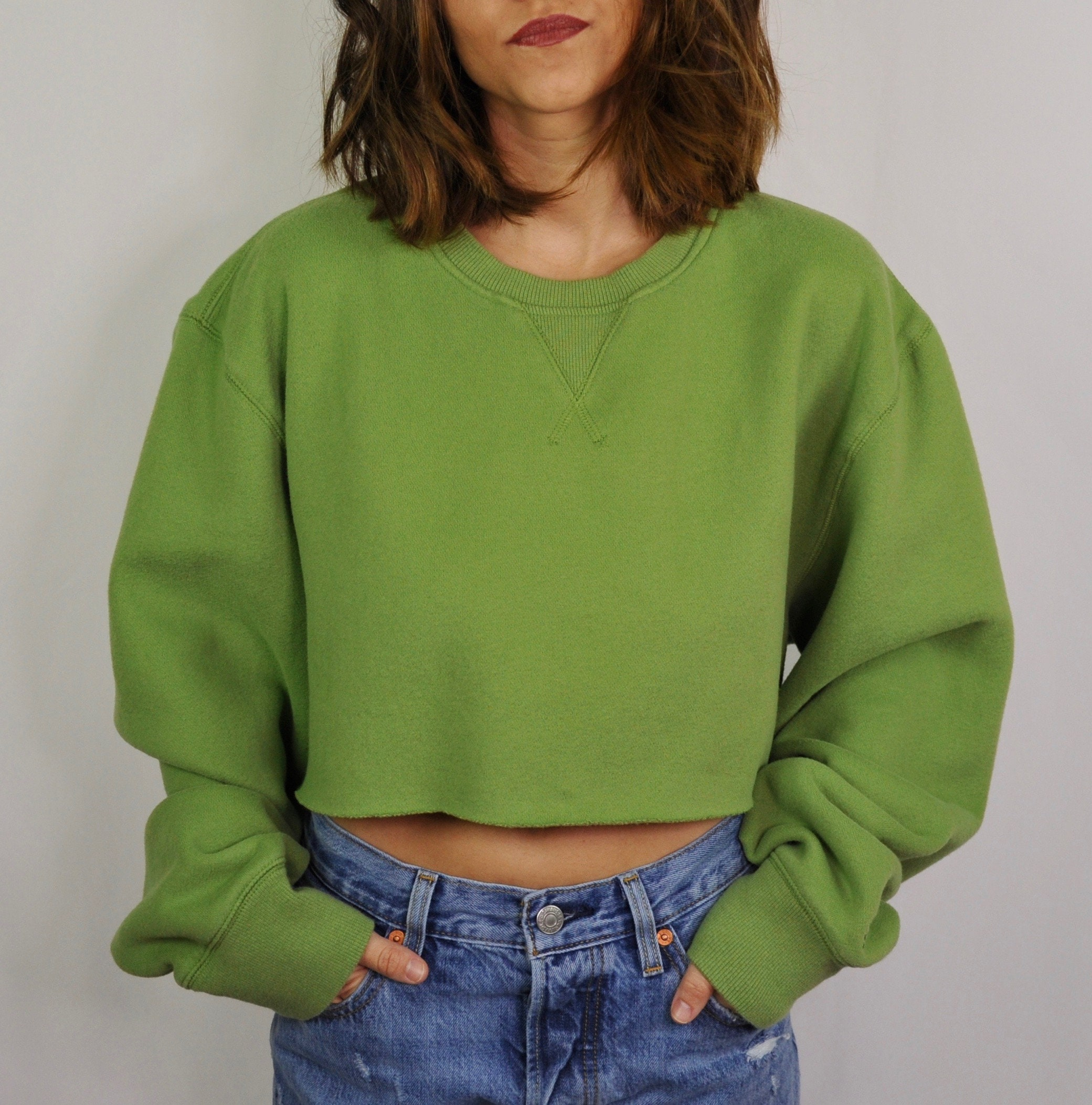 Lyst - Vetements Cropped Hoodie in Green  Green Cropped Hoodie
