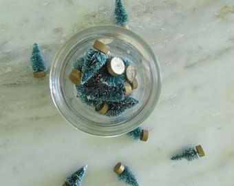 vintage inspired teal bottle brush trees with gold bottoms retro aqua mini christmas trees retro christmas decor little green trees - Teal And Gold Christmas Decorations