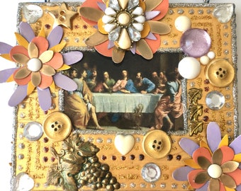 Last Supper (Gold & lavender)/Unique Wall Hangings, Montana artist, Handmade, Contemporary, Spiritual decor, Faith gift, Upcycled items