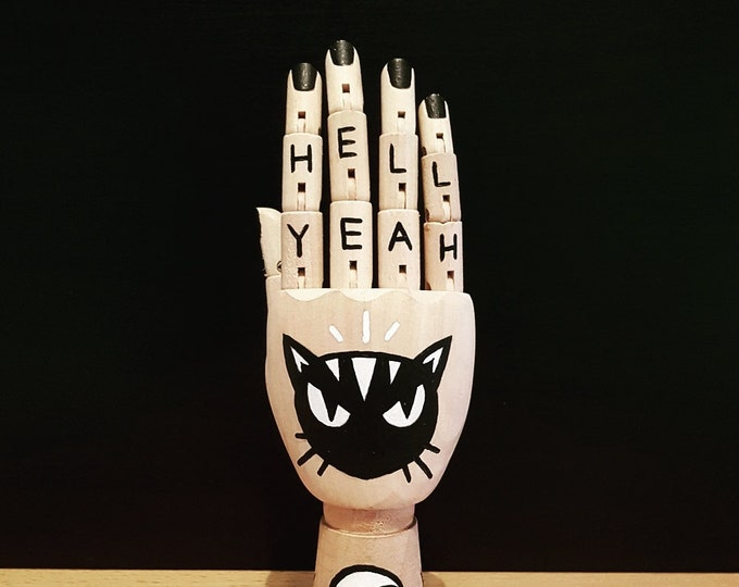 Mini Painted Wooden Artist Hand: 'Hell Yeah'