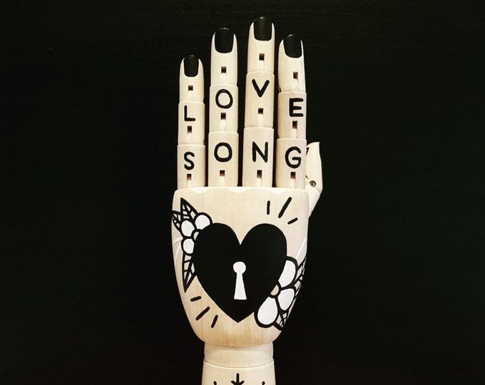 Painted Wooden Artist Hand: 'Love Song' (Inspired by Punk Band The Damned)