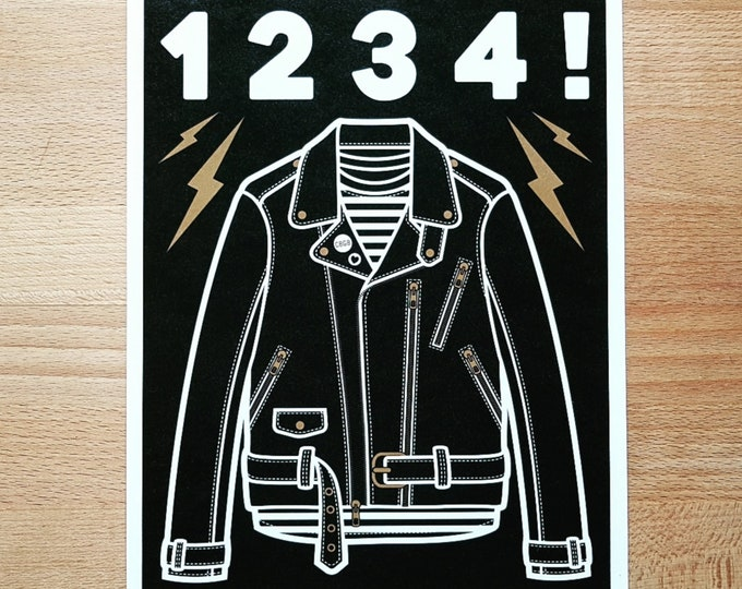 Ramones Inspired '1234' Leather Jacket Digital Print