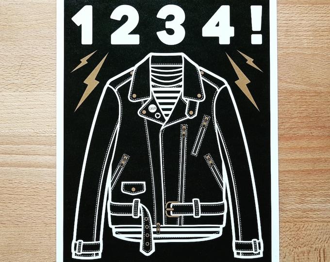 Ramones Inspired '1234' Leather Jacket Digital Print