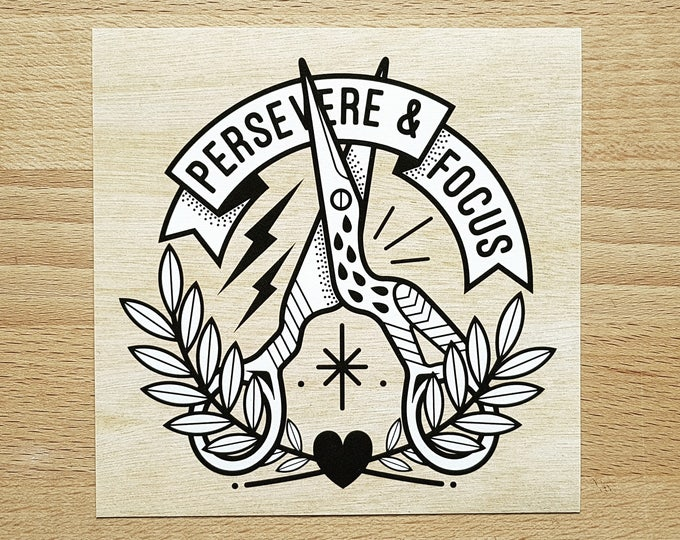 Digital Mini Print: 'Persevere & Focus' Stork Scissors