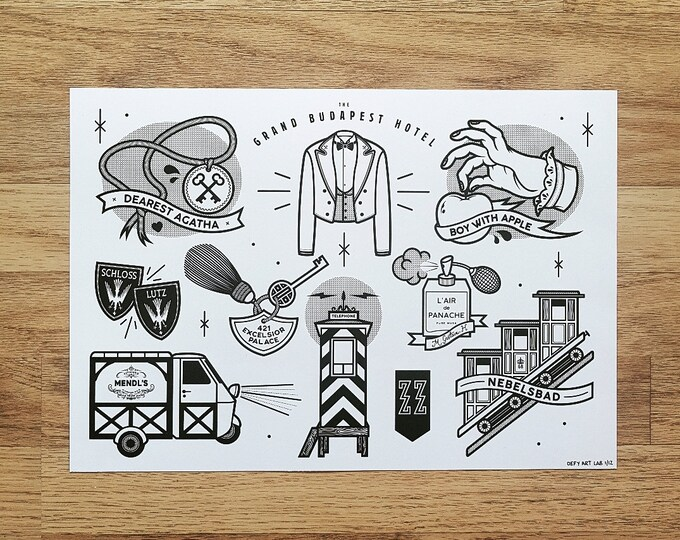 The Grand Budapest Hotel Inspired Tattoo Flash Style Digital Print