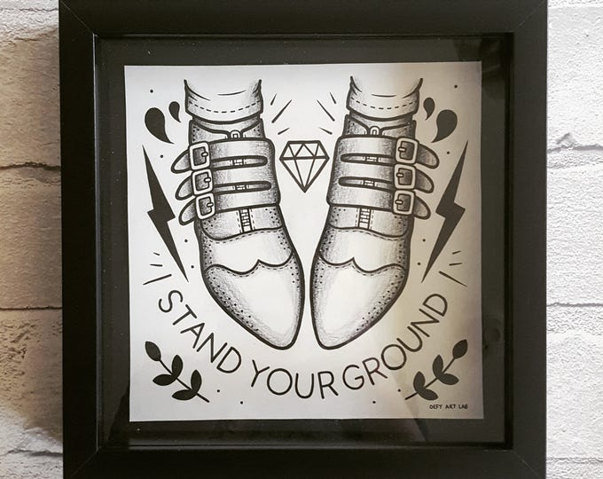 Stand Your Ground: Box Framed Drawing (Inspired by Rancid)