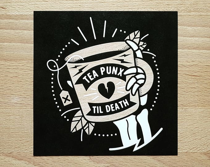 Digital Mini Print: 'Tea Punx Til Death' Skeleton Hand & Teacup