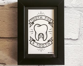 Tooth For A Tooth: Box Framed Drawing (Inspired by Rancid)