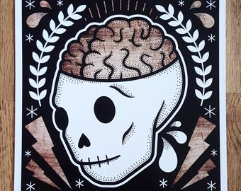 Open Your Mind: Skull Digital Art Print