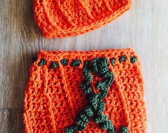 Pumpkin Cocoon and Hat, Crochet Pumpkin Cocoon, Crochet Pumpkin Cocoon and Hat, Baby Pumpkin Cocoon with Matching Beanie
