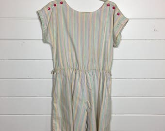 Vintage 1980s Rainbow Striped Shorts Romper / Playsuit / Open Back / Made by Byer Too