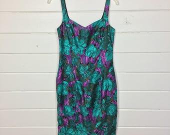Vintage 1990s Saks Fifth Avenue Floral Cotton Dress / Wiggle Dress / Bodycon / Teal & Purple
