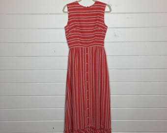 Vintage 1970s Red & White Striped Cotton Maxi Dress / Sundress / Made by Main Place / Ruffled Hem
