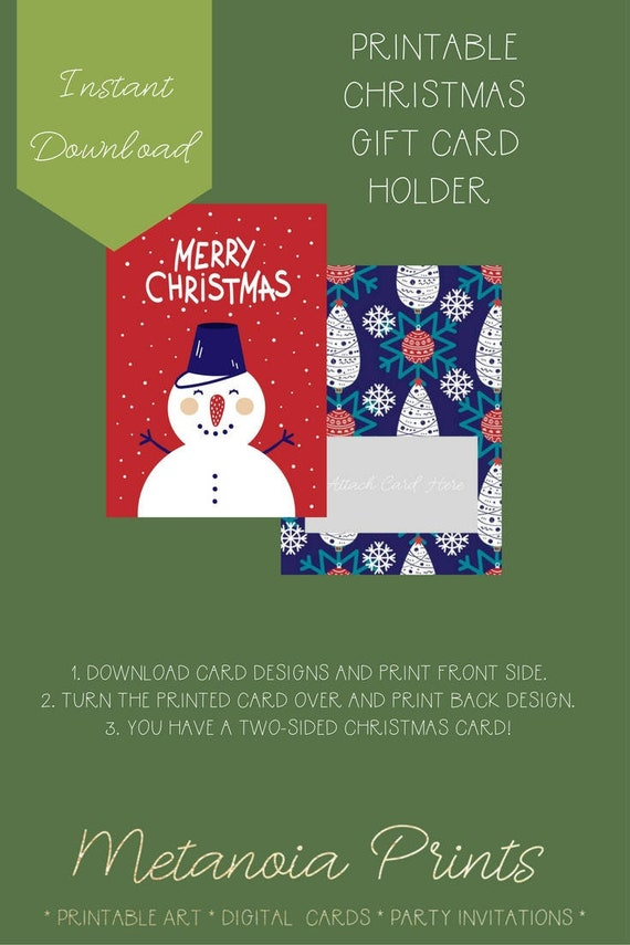 Merry Christmas Snowman Card Gift Card Holder Instant Digital Etsy