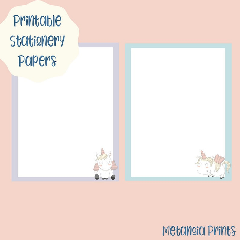 picture relating to Printable Stationary for Kids named Unicorn Printable Stationery for Children Quick Electronic Down load Stationary Magazine Papers Lady Present Notion Below 10