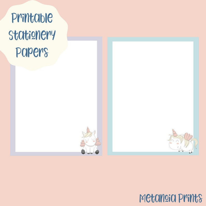 graphic about Printable Stationary for Kids called Unicorn Printable Stationery for Young children Instantaneous Electronic Down load Stationary Magazine Papers Female Reward Notion Down below 10