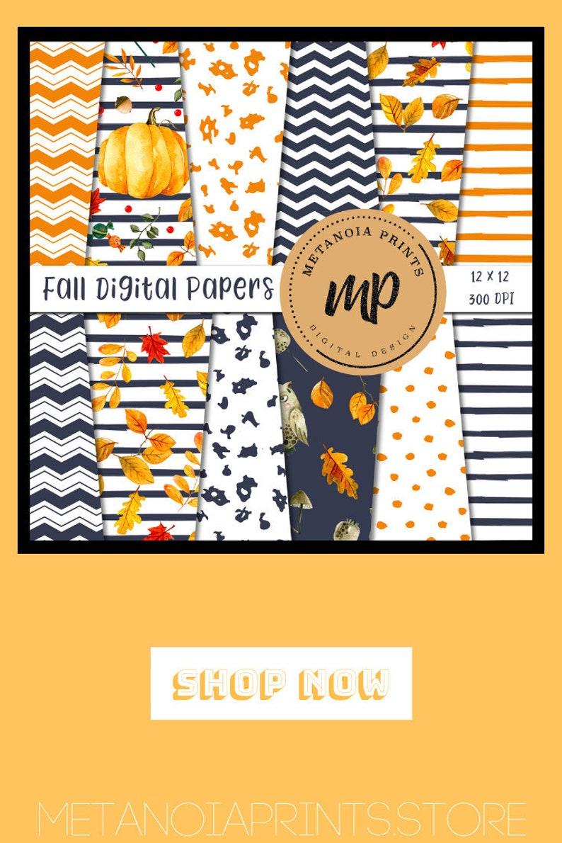 Fall Digital Paper Autumn Leaves Thanksgiving Scrapbooking Etsy