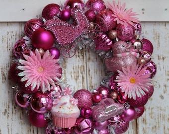 Pink Toy Wreath - Ornament Wreath - Princess Wreath - Baby Girl Wreath - Baby Shower Wreath - Pink Wreath