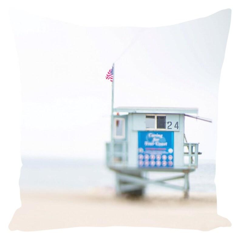 Summer Throw Pillows For Couch Lifeguard Stand California Beach Photography Beach House Decor