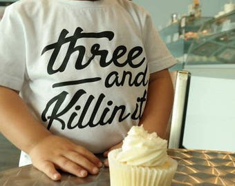 3rd Birthday Shirt Boy, 3 year old Birthday Shirts, Boys third birthday, three and Killin It, Fast Shipping, Third Birthday Party Shirt