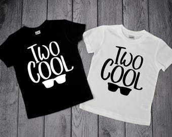 TWO COOL 2 Year Old Birthday Shirt Boys 2nd Two Boy