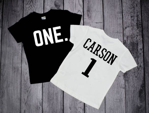 One Year Old Birthday Shirt With Name Boys 1st