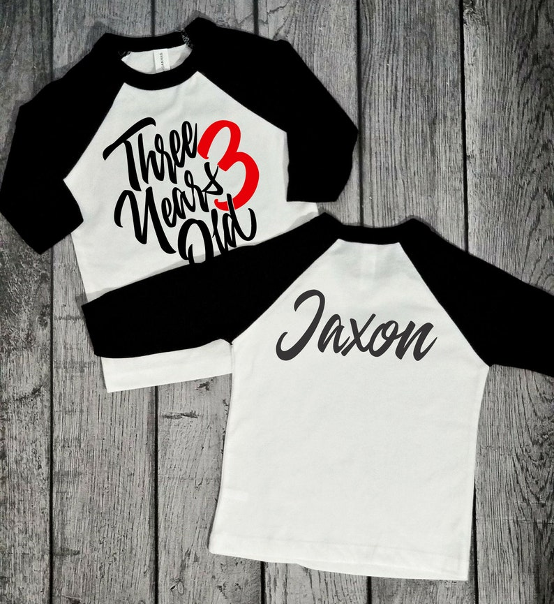 3 Year Old Boys Birthday Shirt 3rd Raglan Style 2