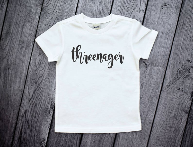 3 Year Old Birthday Shirt Threenager 3rd Boys Young Wild And Three