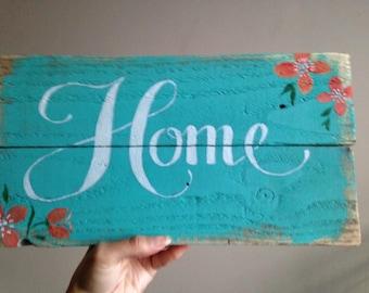 handmade handpainted home sign wall art, decor pretty floral