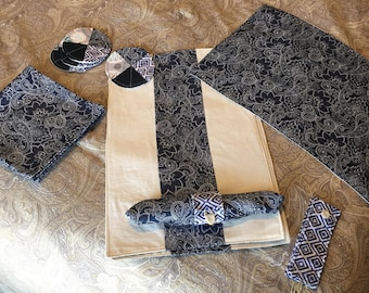Set of 4  Reversible Placemats, Napkins, Napkin rings, and Coasters