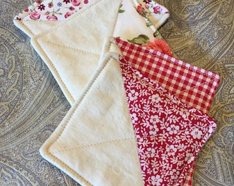 """Set of 4 Quilted """"Half-Triangle"""" Coasters"""