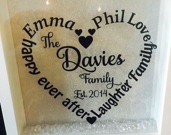 Personalised family heart frame / personalised family gift / home decor gift / gift for family / personalised family frame / family frame