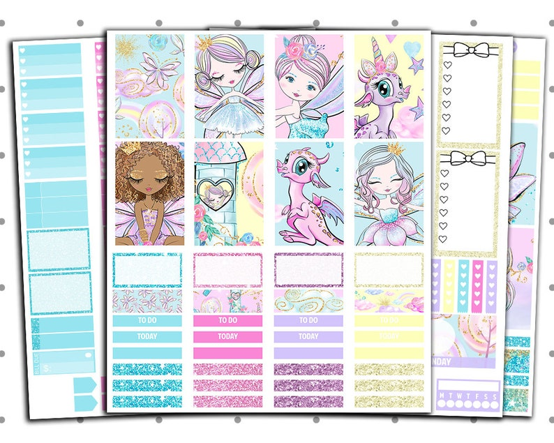5db47db3ef48f Petite Fairies PRINTABLE Planner Stickers | Printable Weekly Kit For Use  With Classic Happy Planner | Fairy Stickers, Fairy Tale | Cut Lines