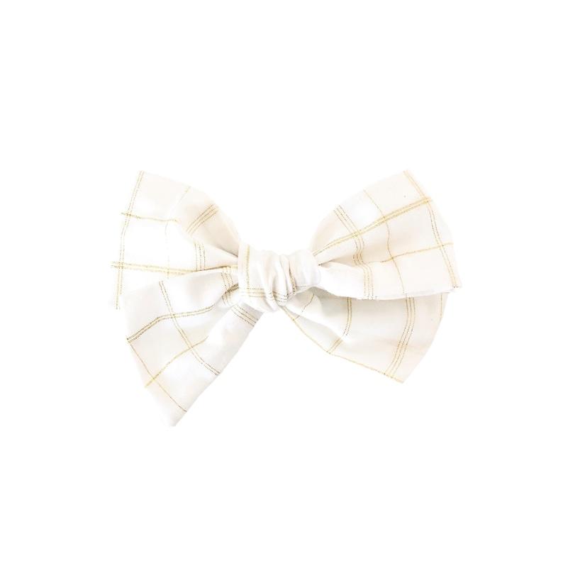 2b8ffa8220f1 Gold Plaid Hair Bow White Newborn Headband Plaid Bow Fabric