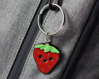 Kawaii Strawberry Backpack Keyring Keychain Necklace Fruit Berry Charm Style similar to Adventure Time and Hello Kitty for purse or backpack