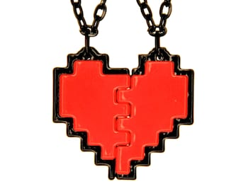 Undertale Frisk Cosplay 8 Bit Pixel Heart Necklace for Friendship, Couples, or Gamers Zelda Heart Emoji Full Border Gift for Her