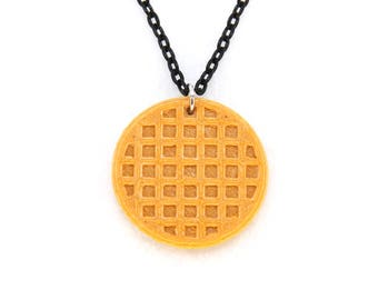 Waffle Necklace, Breakfast Food Necklace, Stranger Things, Eleven, Eggo Waffle, Leslie Knope, Miniature, charm