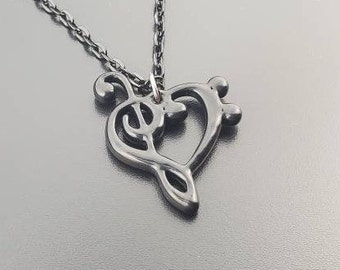 Music Heart Necklace from Treble Clef and Bass Clef, Music Lover's Necklace