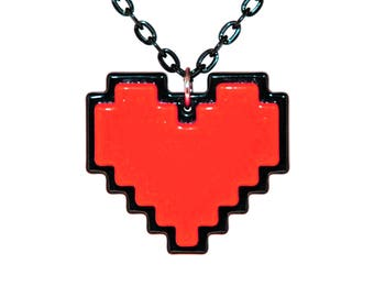 Undertale Cosplay Necklace Digital 8 Bit Pixel Heart Zelda Heart Container Red Stay Determined Gift For Her Undertale Soul