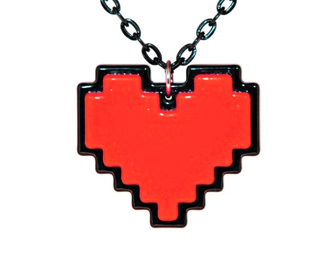 Featured listing image: Undertale Cosplay Necklace Digital 8 Bit Pixel Heart Zelda Heart Container Red Stay Determined Gift For Her Undertale Soul