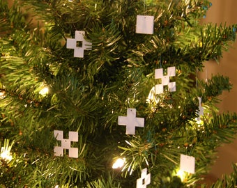 Minecraft Snowflake Ornament, 8-Bit Retro Christmas Gift Minimalist Pixel Handmade Ornament, Best Custom Sizes Available