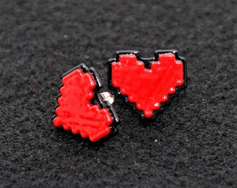 Heart Earrings, Undertale Soul Cosplay, Digital 8 Bit Pixel Heart, Zelda Heart Container, Red Stay Determined, Gift For Her, Nickel Free