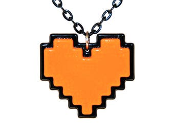 Orange Pixel Heart Necklace, Digital 8 Bit Retro Gaming Heart, Undertale Soul, Zelda Heart Container, Orange for Bravery, Gift For Her